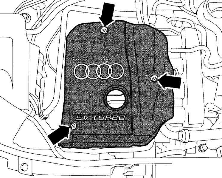 Снятие и установка верхней крышки двигателя/нижней защиты двигательного отсека/подрамника на Audi A4