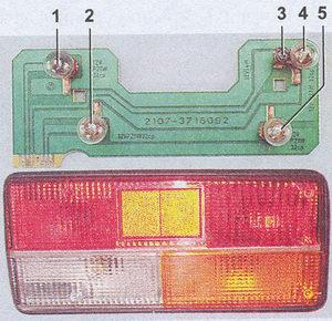 снятие заднего фонаря и замена ламп автомобиль ваз 2107