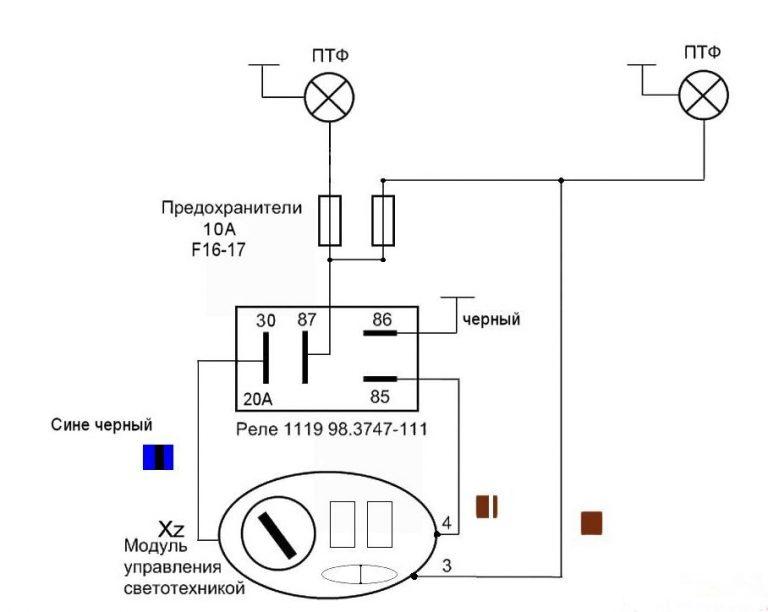 Схема подключения противотуманных фар своими руками