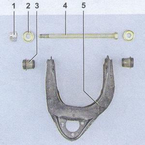 снятие и замена верхнего рычага передней подвески автомобиля ваз 2107 —  снятие и замена сайлентблоков (резинометаллических шарниров)